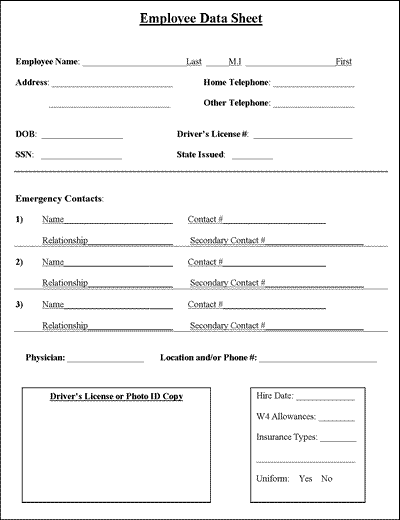 Download This Free Editable Microsoft Word Employee Information Sheet Customize And Organize About Employees Contractors Or Volunteers