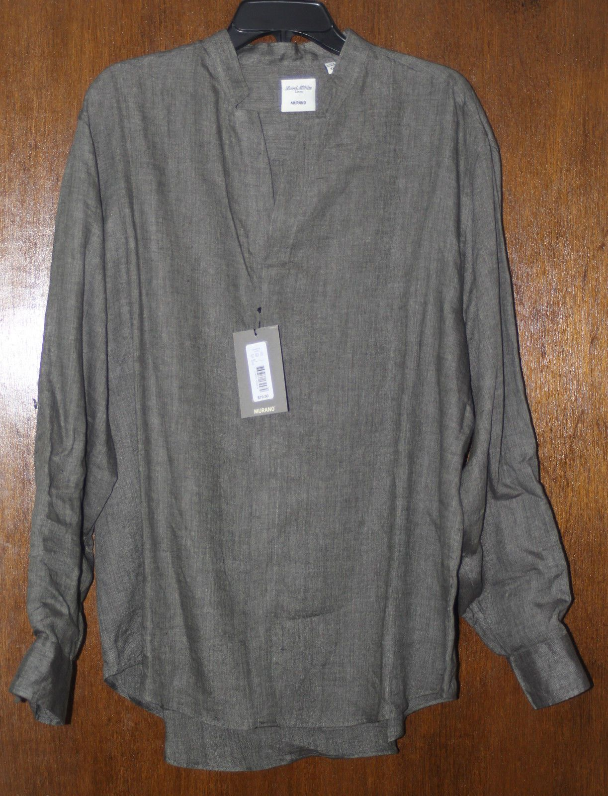 M XL Murano Mens New $80 100/% Linen Banded Western Collar Button Shirt L NWT
