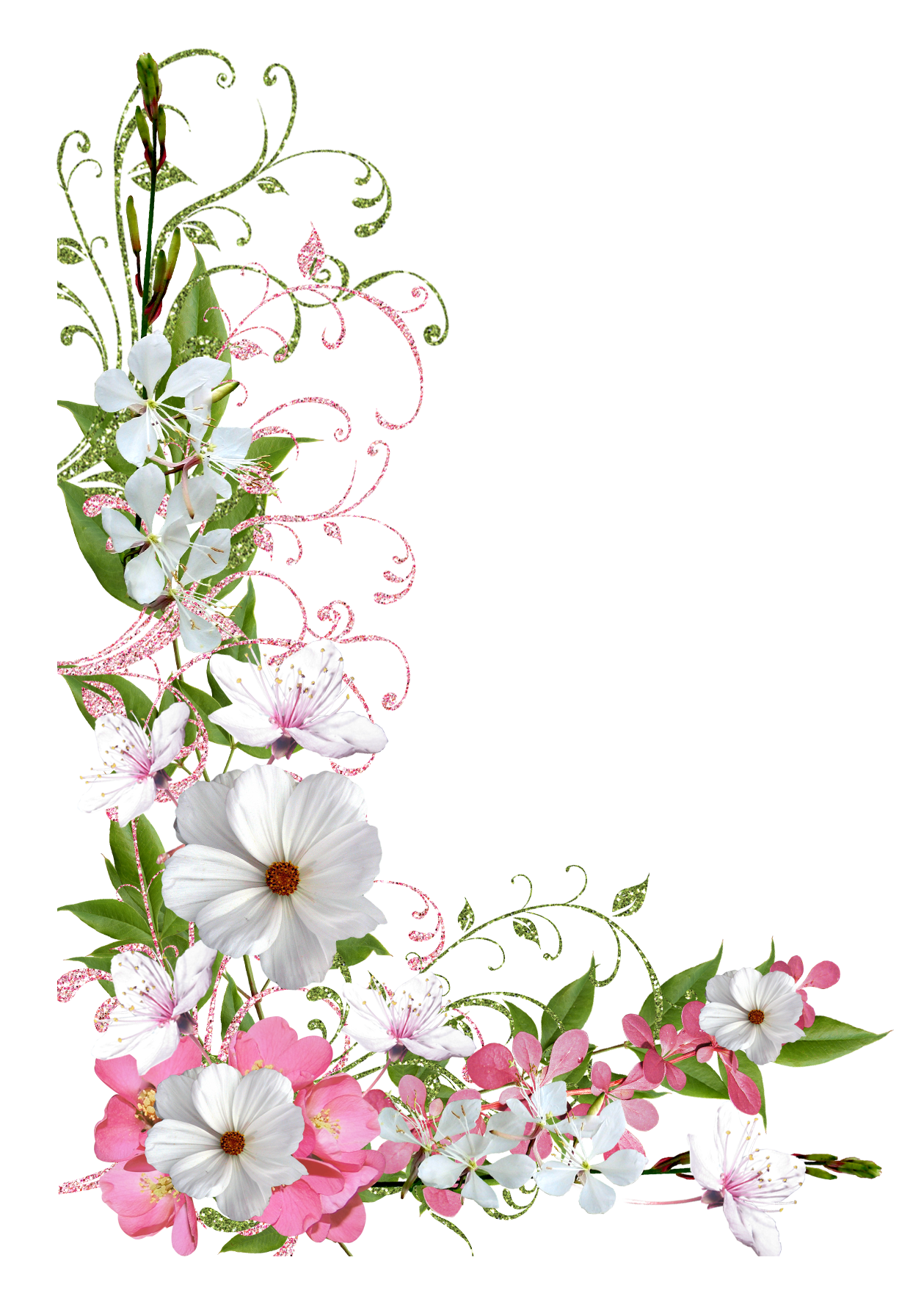 Pink and Green Spring Decor PNG Picture Clipart Flower