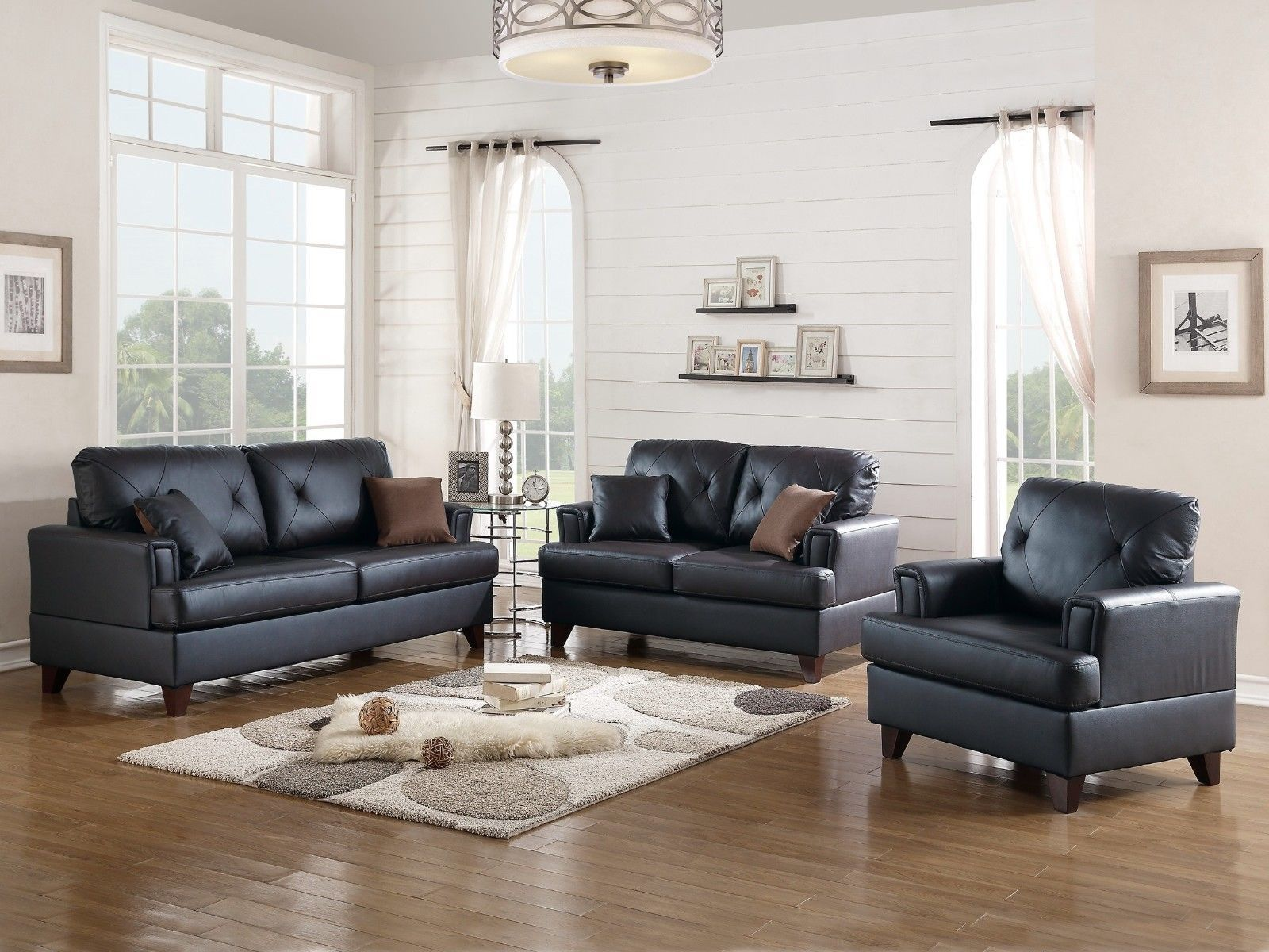 Beautiful Black Leather 3p Sofa Set Sofa Couch Loveseat Chair