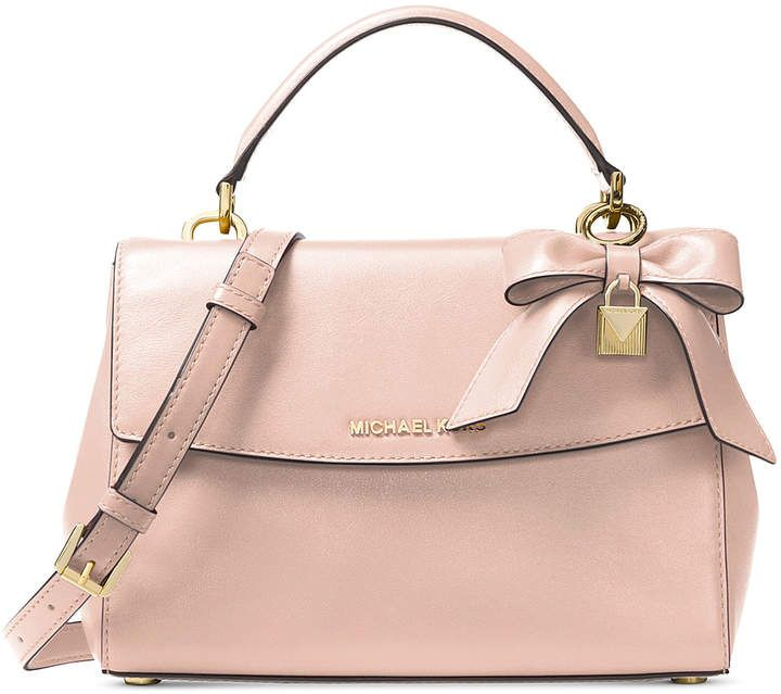soft pink ava top handle leather satchel michael kors bag with bow rh pinterest com