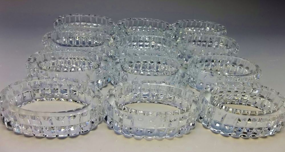 Lot 12 Genuine 24% Lead Crystal Oval Napkin Ring Holders Western Germany Clear