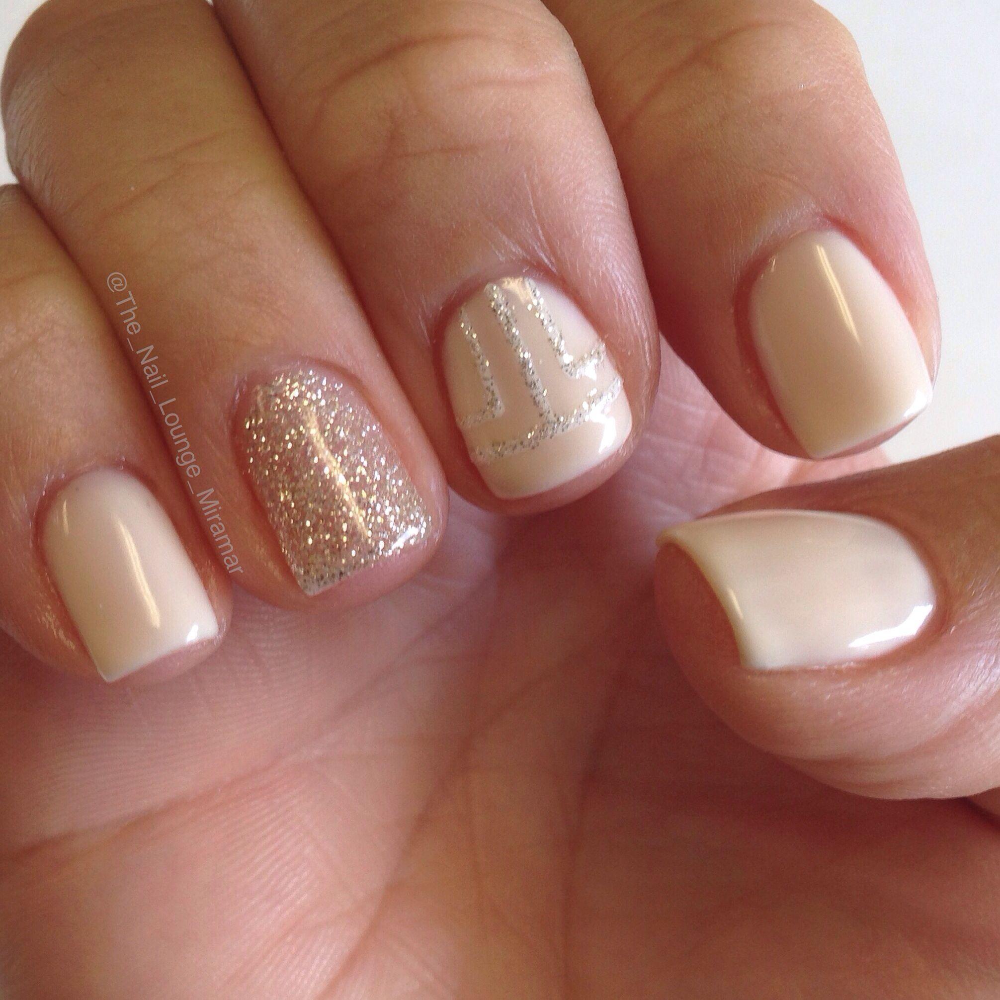 Simple Gel Nail Art Designs: Simple Nude & Glitter Gel Nail Art Design