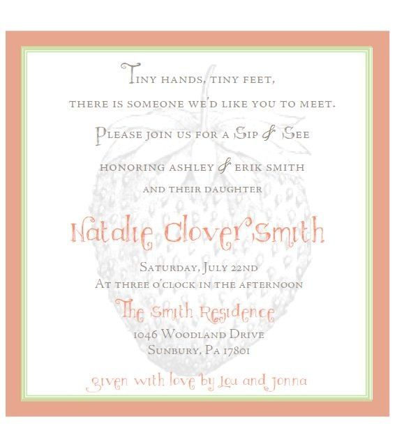 Cute Wording For A Sip And See Invitation