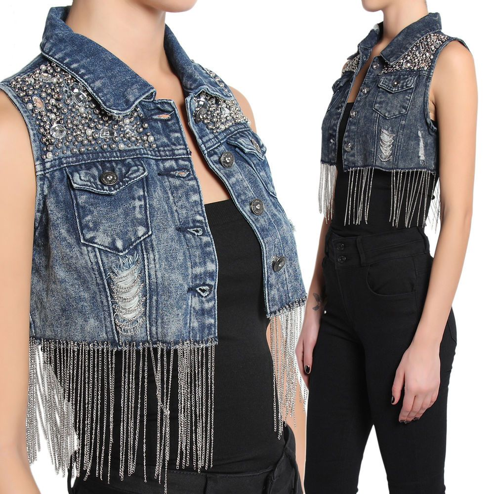 Themogan Embellished Fringe Chain Crop Denim Vest Sleeveless Jean Jacket Denim Jacket Fashion Sleeveless Jean Jackets Denim Fashion [ 1000 x 1000 Pixel ]