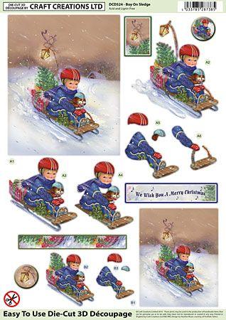 Craft Creations A4 die cut decoupage - Boy on Sledge, Christmas