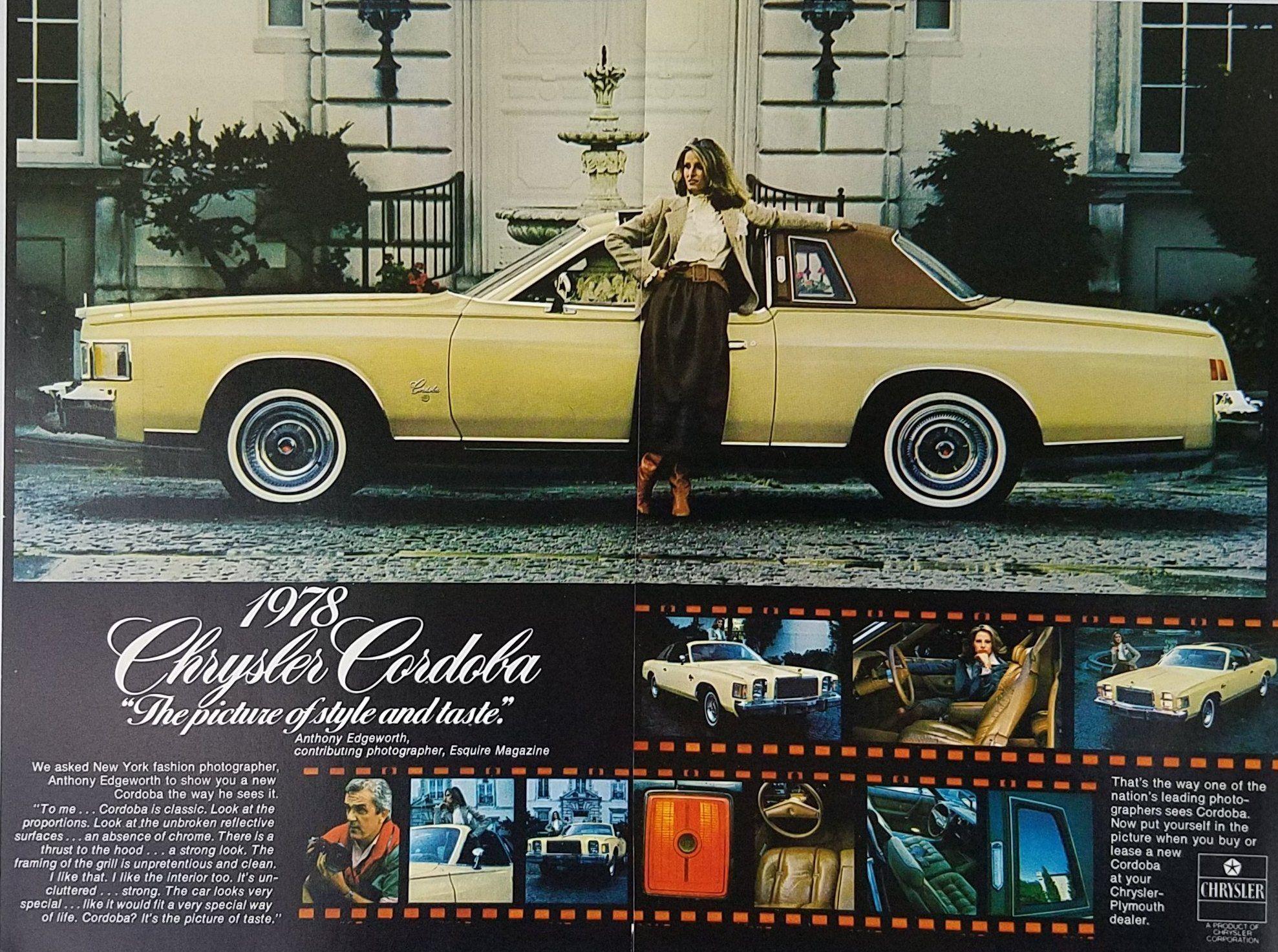 1978 Chrysler Cordoba Vintage Ad - Anthony Edgeworth Woman Leaning ...