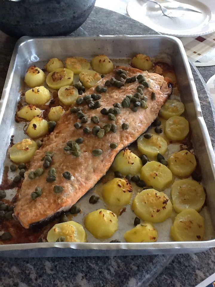 Salmão com Batatas #peixes