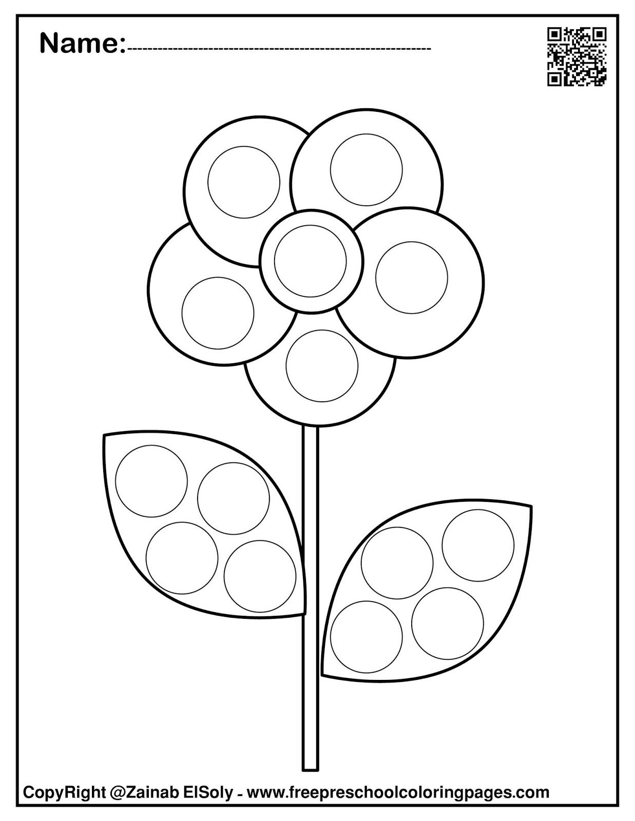 Set Of Spring Dot Marker Free Coloring Pages In