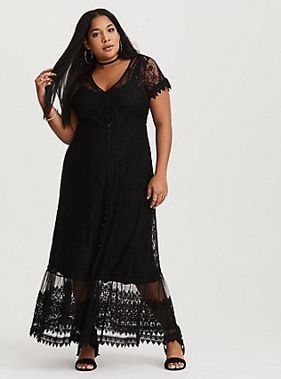 d33daa4d05d Black Sheer Lace   Mesh Maxi Dress. FASHION TRENDS 2018!  blackdress   plussize  fashionistas  ad