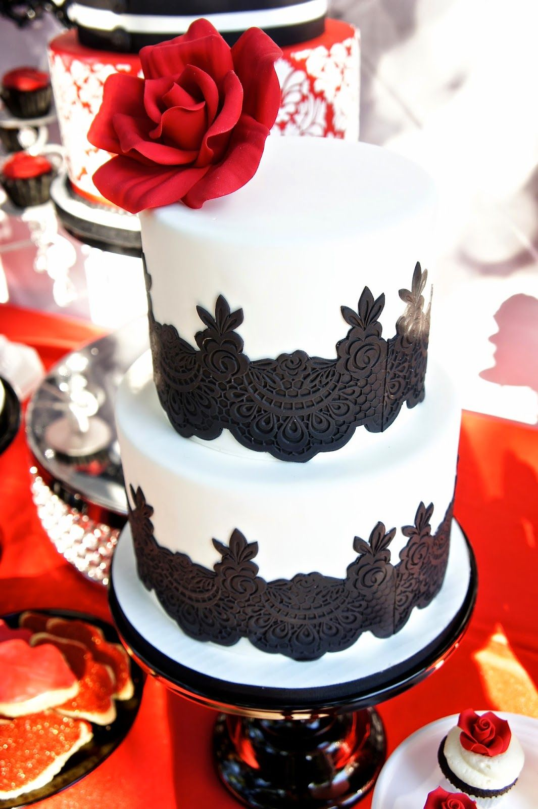 Black white red lace wedding cake by half baked co