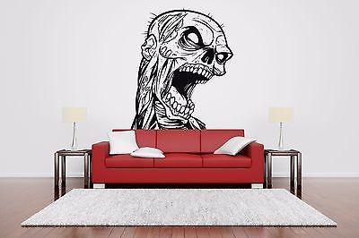 Wall Room Decor Art Vinyl Sticker Mural Decal Zombie Head Dead Big Large AS607