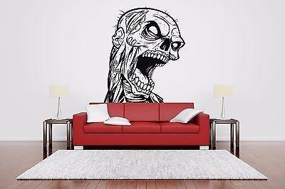 Wall Room Decor Art Vinyl Sticker Mural Decal Zombie Head Dead Big Large AS607