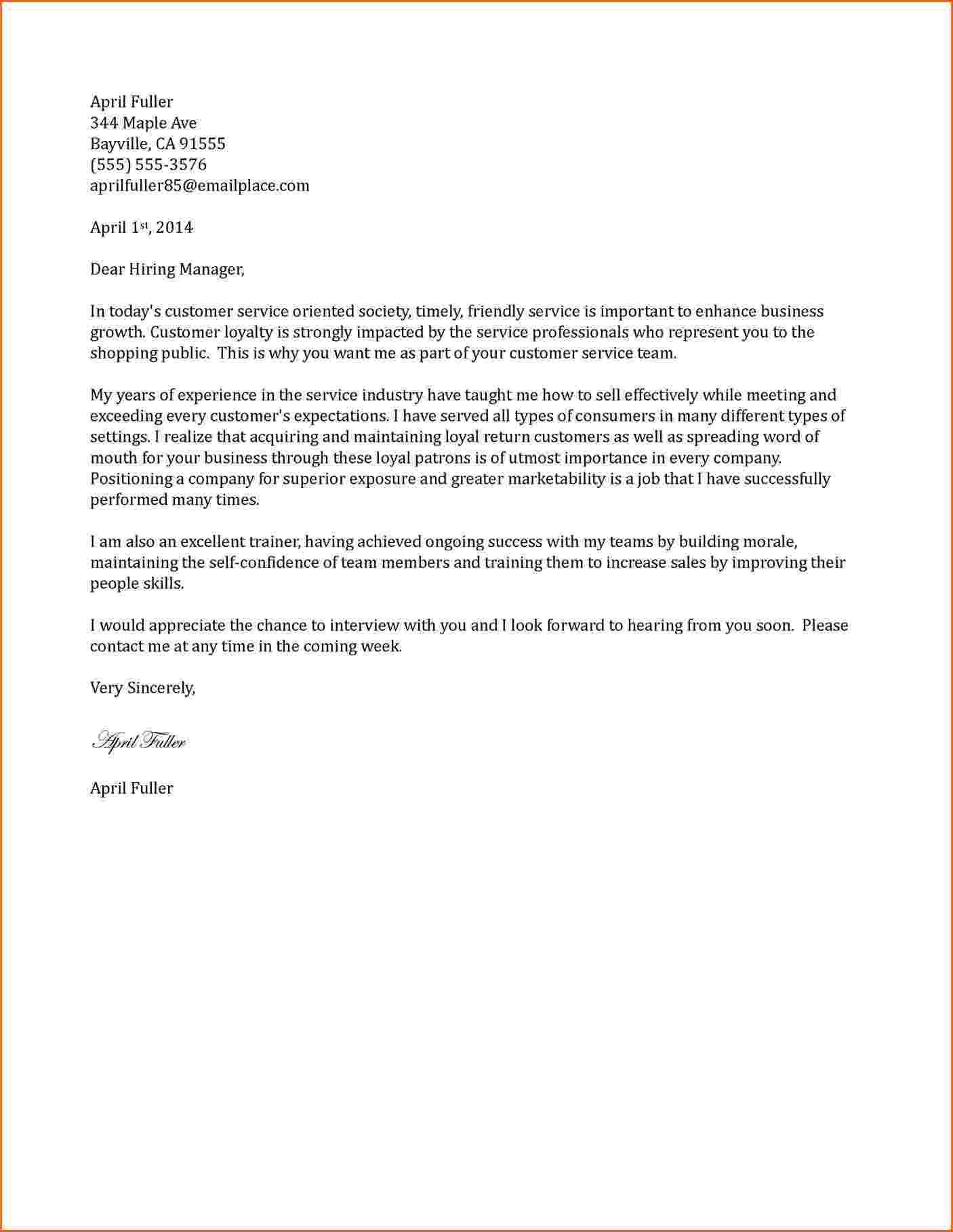 Customer Letter Samplestomer Service Cover Sampleg Hotel Example