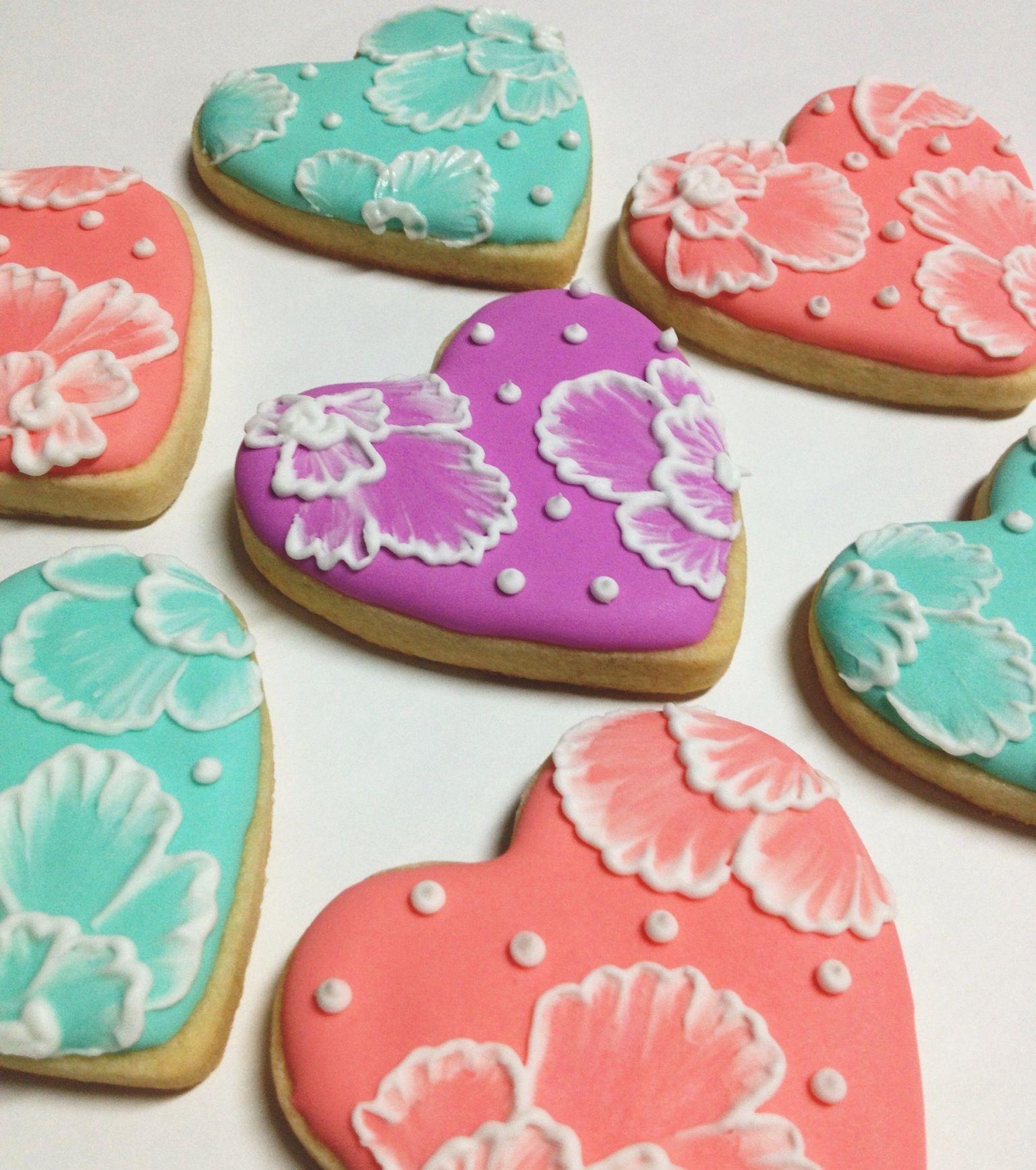 brush embroidery heart sugar cookies wedding flowers elegant pretty ...