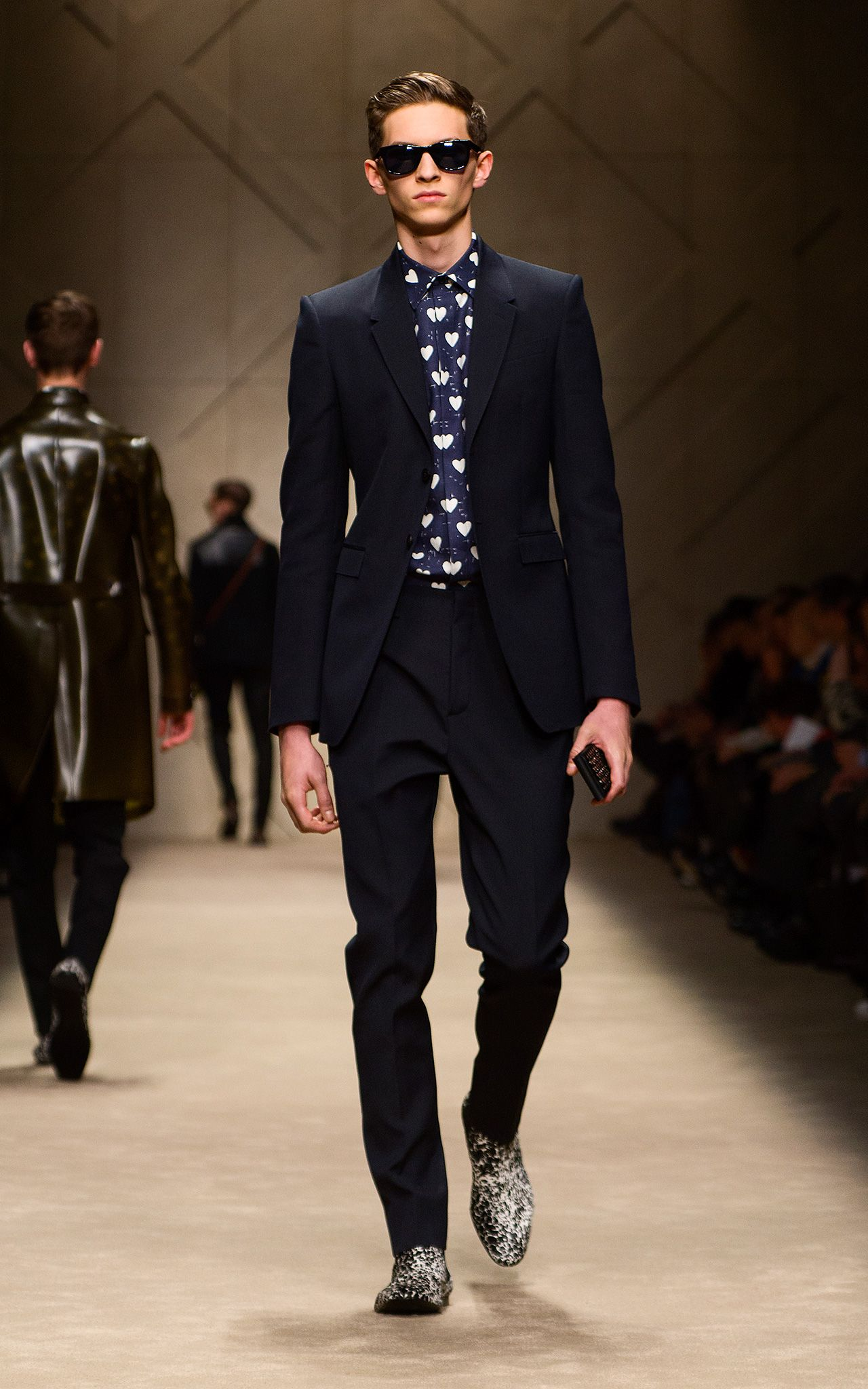Navy Wool Mohair Suit Heart Print Shirt And Studded