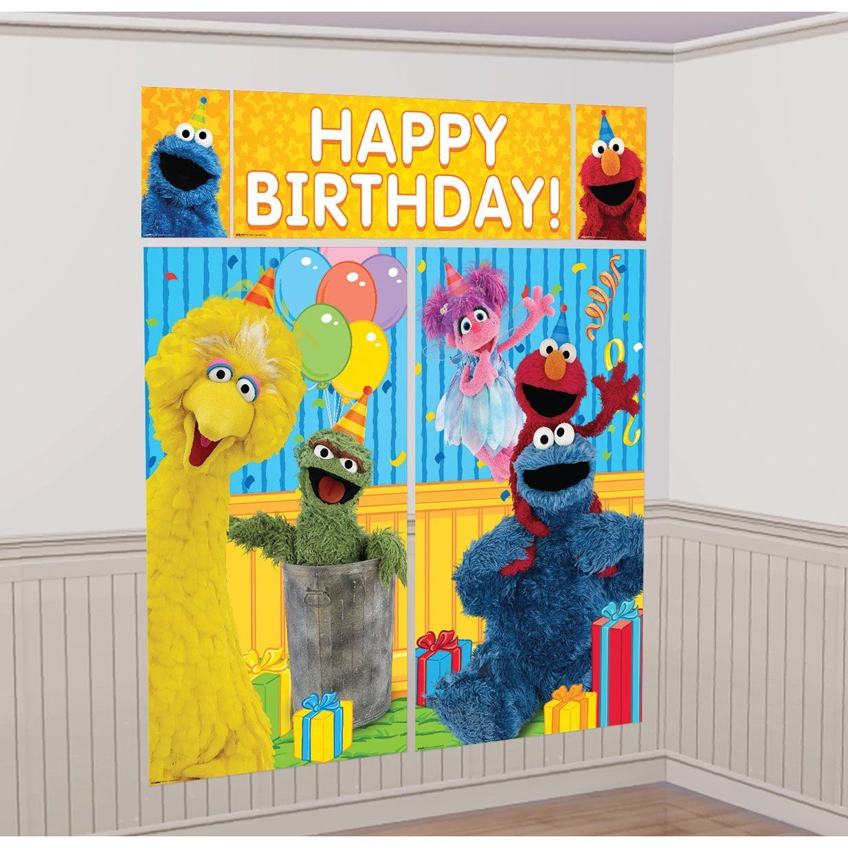 Sesame Street Elmo Photo Booth Wall Banner Decorating Kit Birthday ...