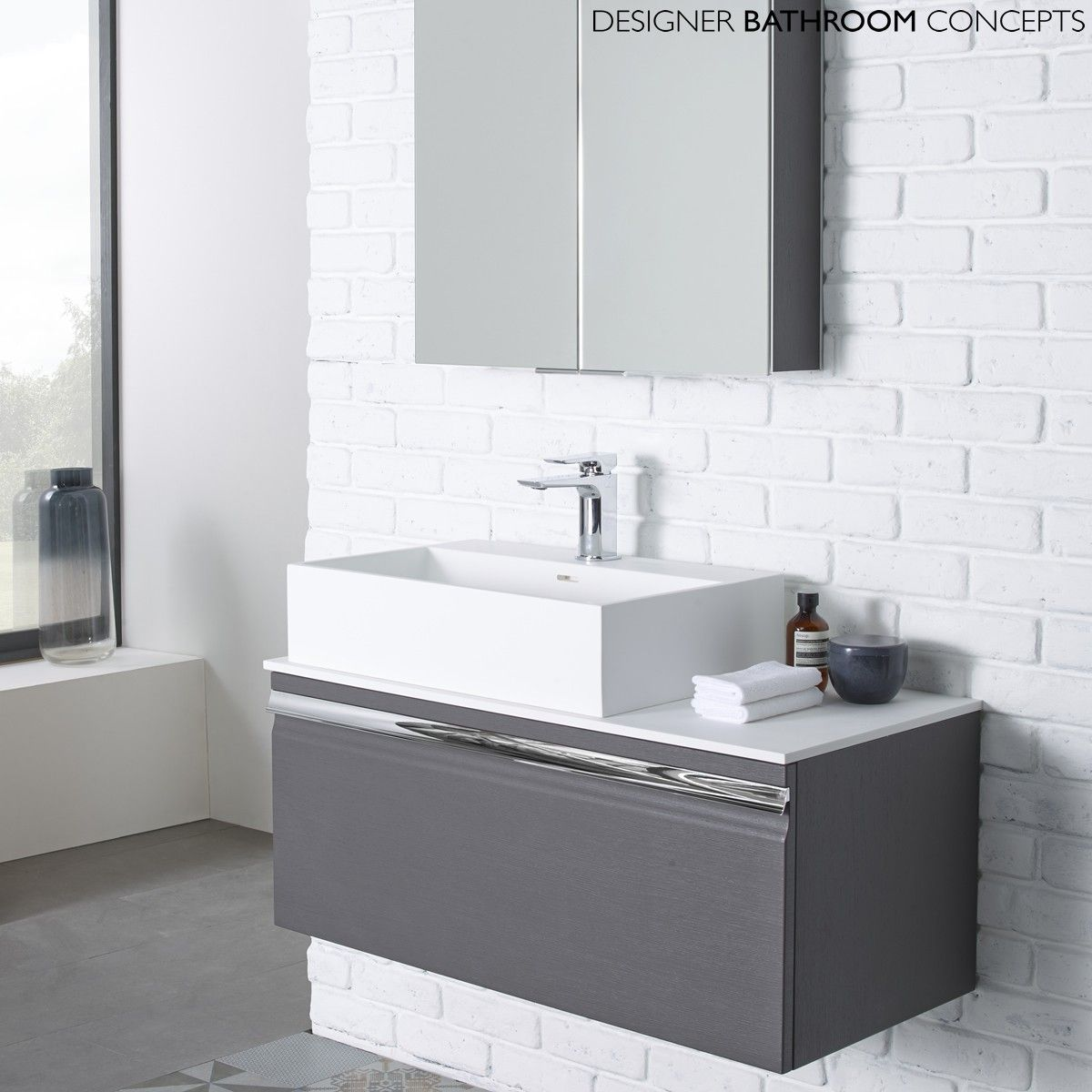 Contemporary Bathroom Vanity Units the pursuit designer charcoal elm 900mm bathroom vanity unit from