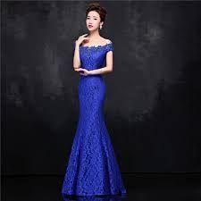 Vestidos azul rey largos con encaje