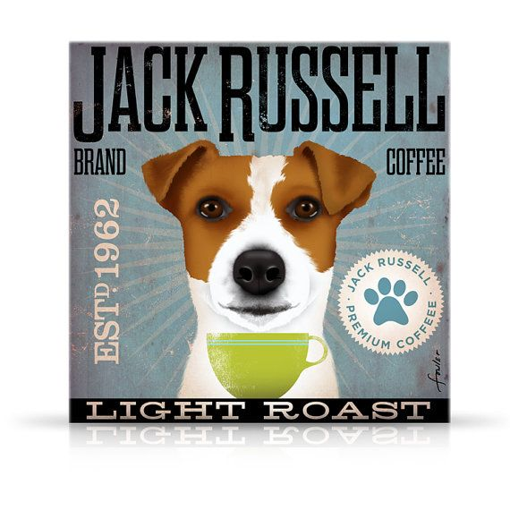 Jack Russell Coffee Company Vintage Style Graphic Artwork On Gallery Wrapped Canvas By Stephen Fowler Illustrazioni