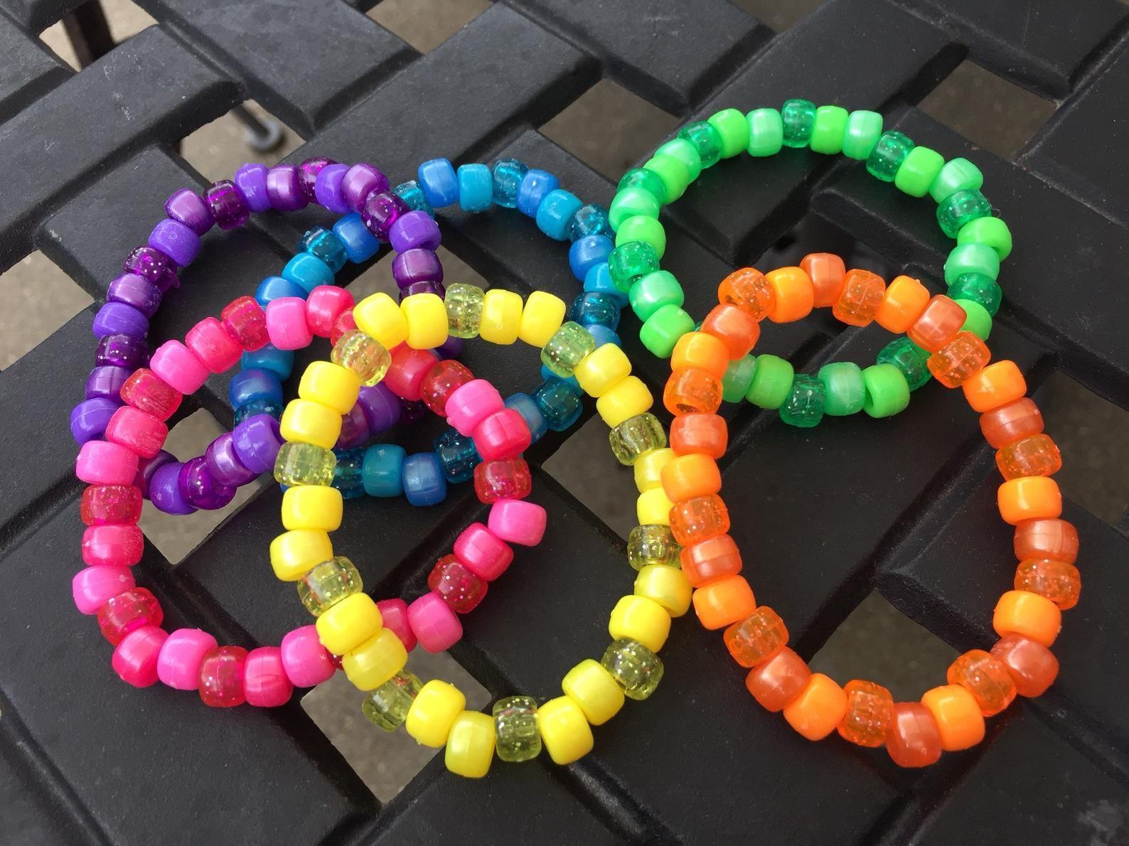 6 Rainbow Kandi Bracelets Set of 6 Bracelets Kandi single