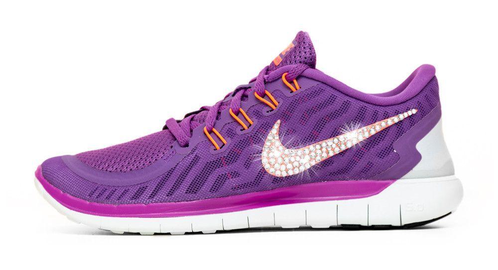 Nike Free 5.0 Running Shoes Hand Customized By Glitter Kicks - Purple White 417203024