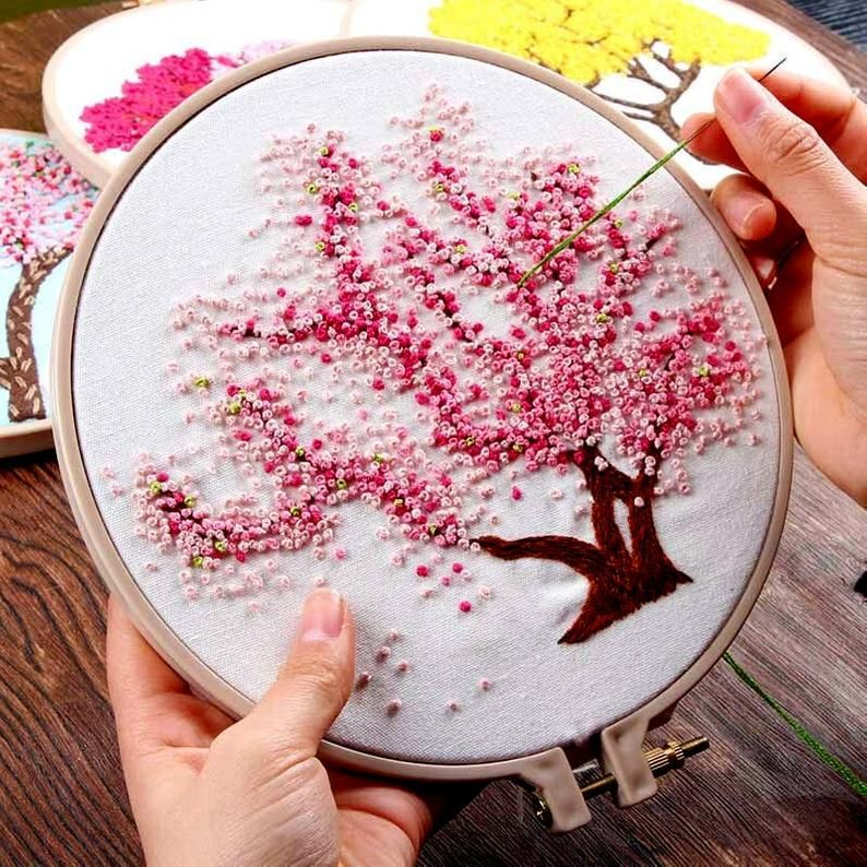 Hand Embroidery Kit Beginner Floral Embroidery Pattern Cherry Blossom Tree Hoop Embroidery Diy Craft Project Diy Bead Embroidery Embroidery Kits Embroidery Flowers Pattern
