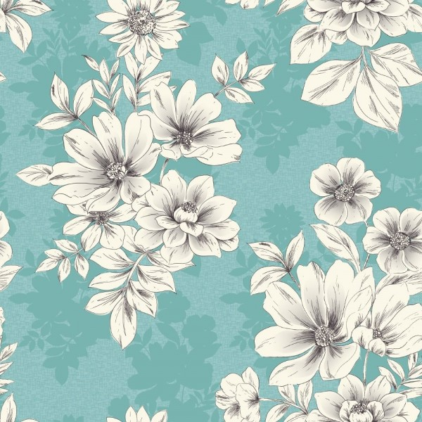 Tapeta Scienna W Kwiaty English Style 209532 Rasch Tapety Na Sciane Teal Flower Wallpaper Flower Print Pattern Floral Textile