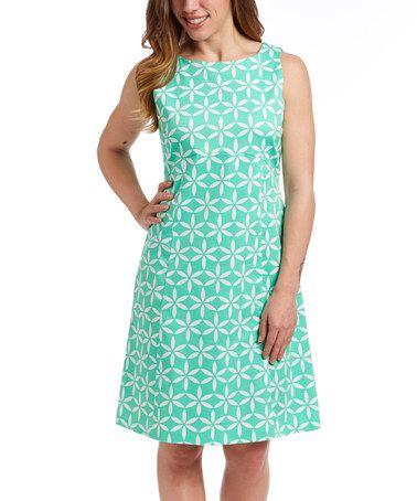 Love this Light Green Floral Sleeveless Dress on #zulily! #zulilyfinds