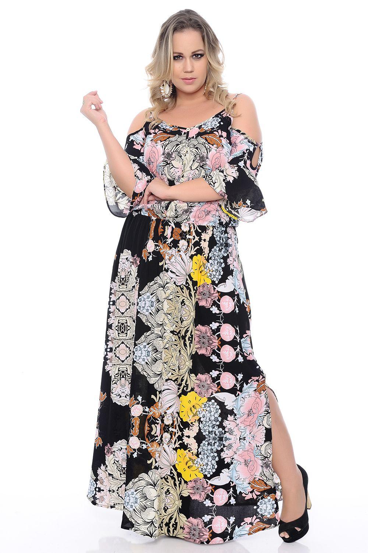 8e7e9e1dd Vestido Longo Estampado Plus Size - Chic e Elegante