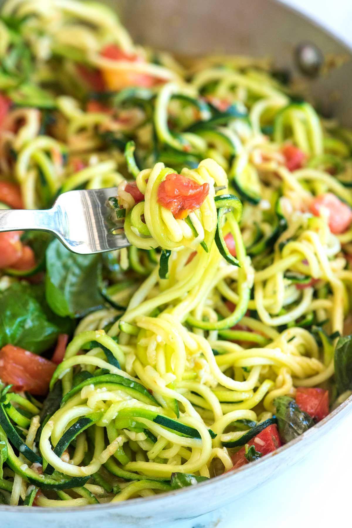 Guilt Free Garlic Parmesan Zucchini Noodles Pasta Recipe