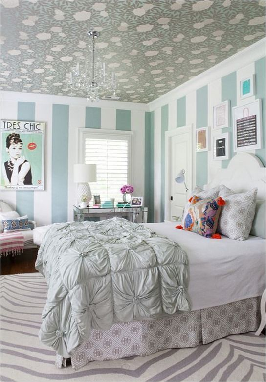 wallpapered ceiling - gossip girl bedroom isuwanee