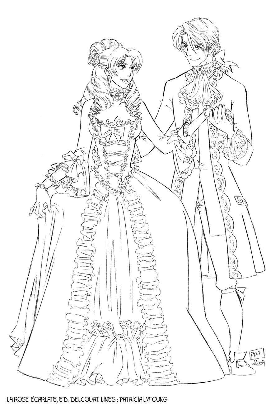 La rose carlate costumes de cour coloriage - Rose coloriage ...