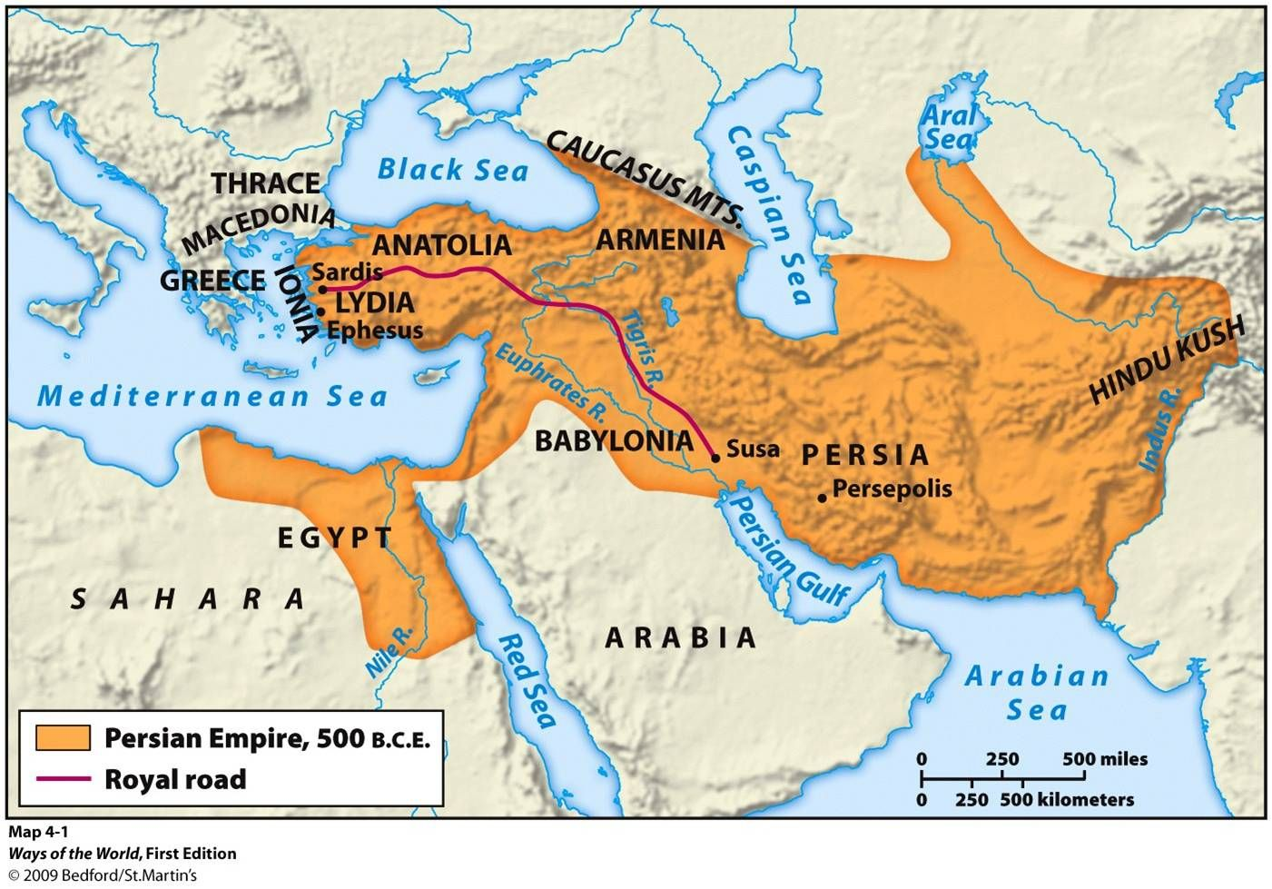 Map Of The Persian Empire 500 Bc Mystery Of History Volume 1 Lesson 67 Mohi67 Persian Empire Map Persian Empire Ancient Civilizations