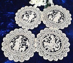 """4 Mixed Figural Antique Point de Venise Lace Doilies Sheep Dog 8 1 2""""   Vintageblessings"""