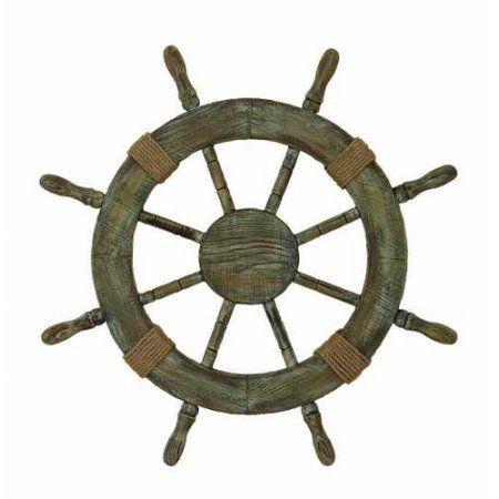 Decmode Wood Ships Wheel, Multi Color, Multicolor