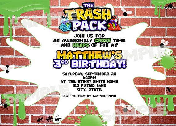 17 Best images about Trash Pack birthday party – Packs of Party Invitations