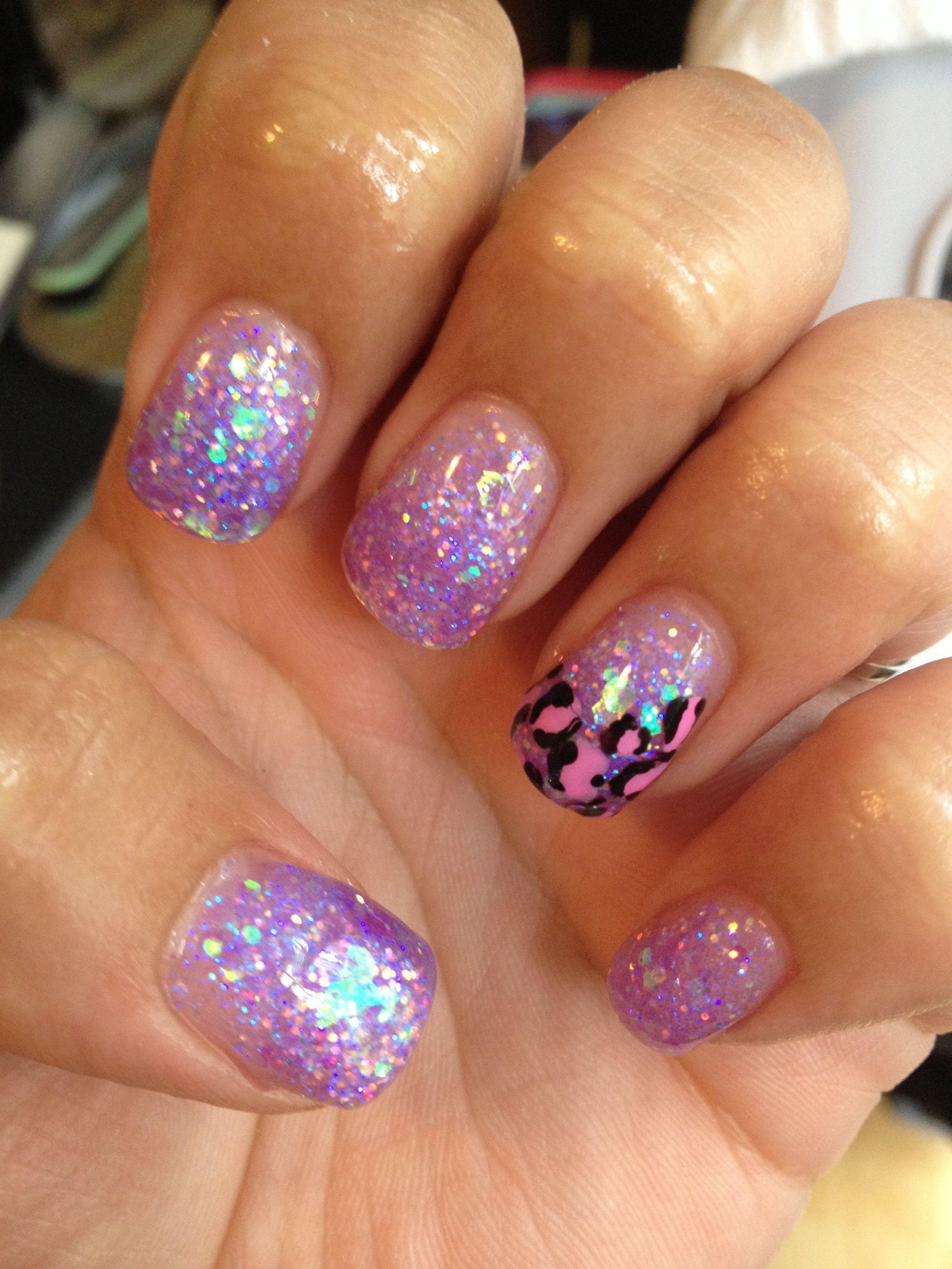 Purples Sparkle Tips And Cheetah Design Nails Pinterest Purple