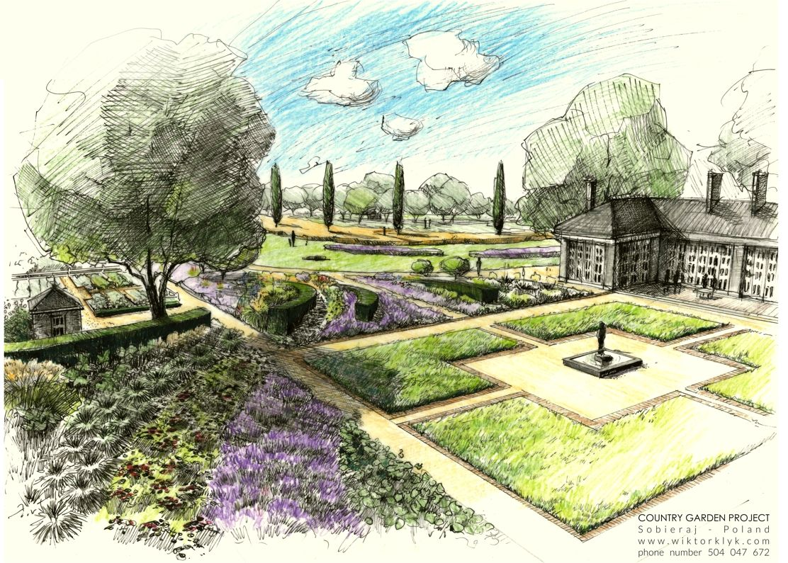 Country garden project sobieraj poland gardens for Garden design sketches