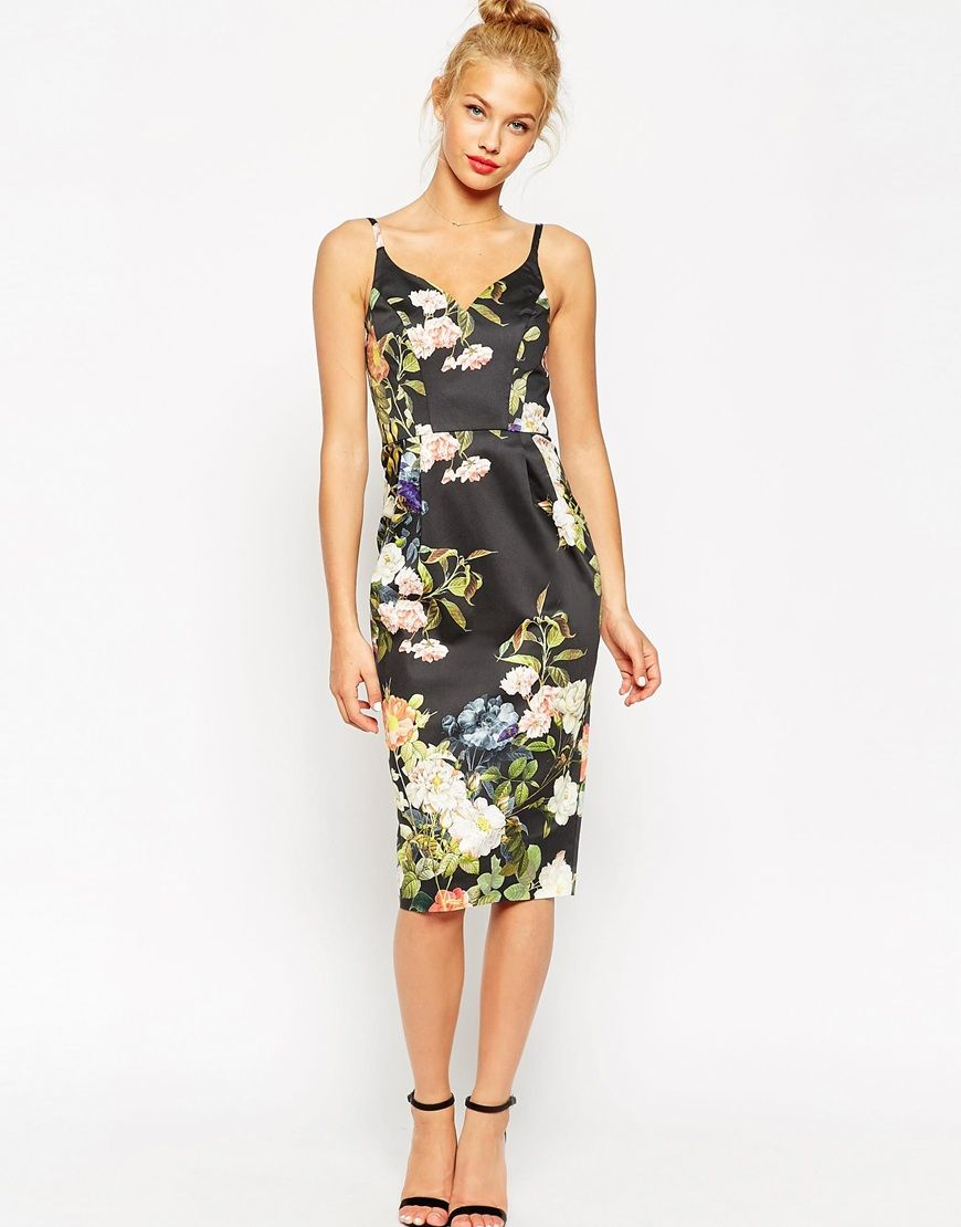 Womens dresses wedding guest  ASOS Hitchcock Pencil Dress In Black Based Floral Print  My Ever