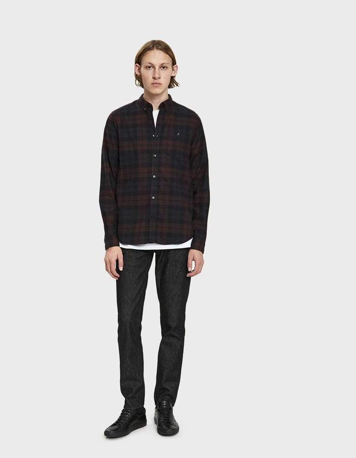 8ab83788bf Norse Projects Anton Flannel Check Button Down Shirt in Eggplant Brown