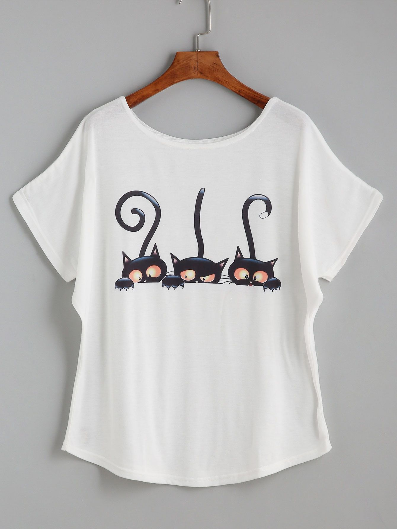 White Cartoon Cat Print Loose T-shirt   Customização, Camisetas ... 816cfcb800