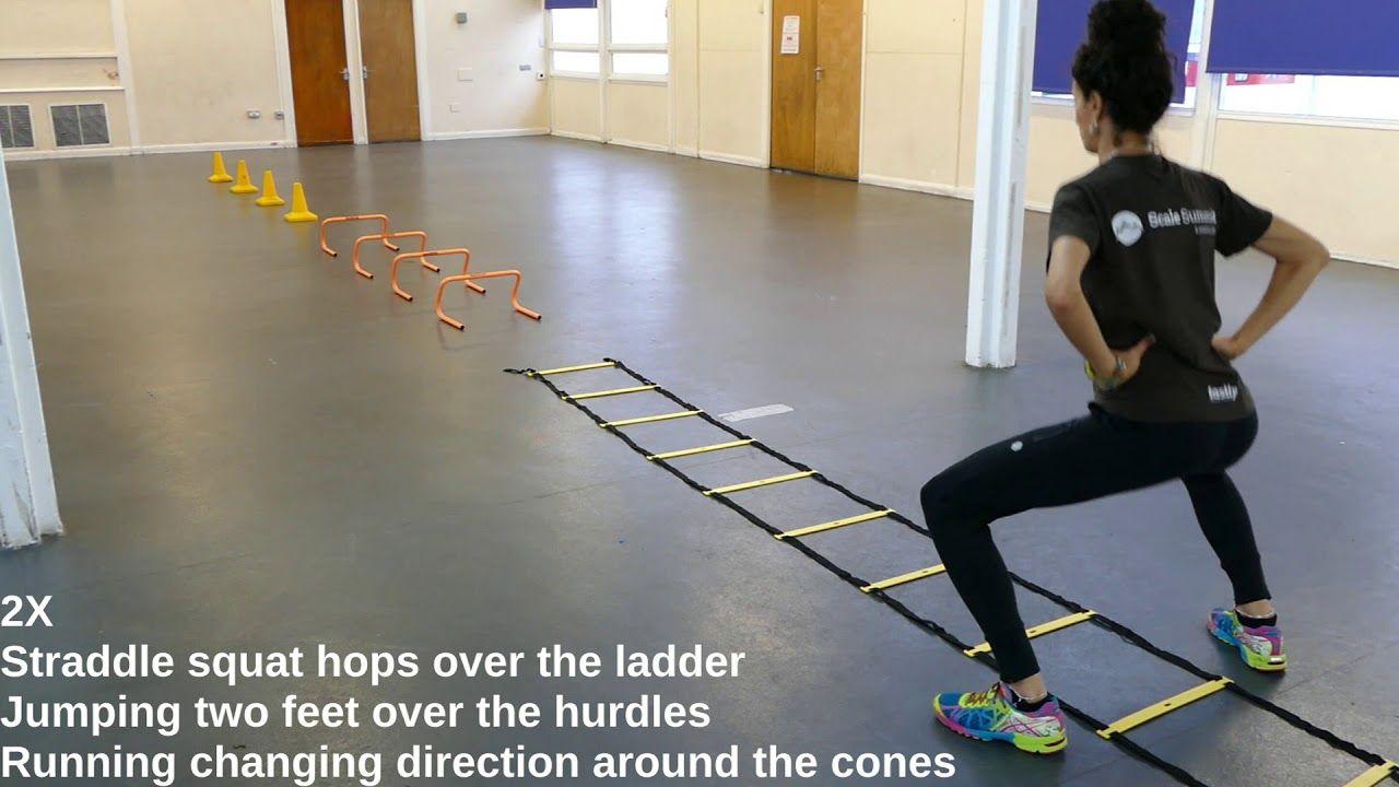 Fencing training agility drills ladder hurdles cones