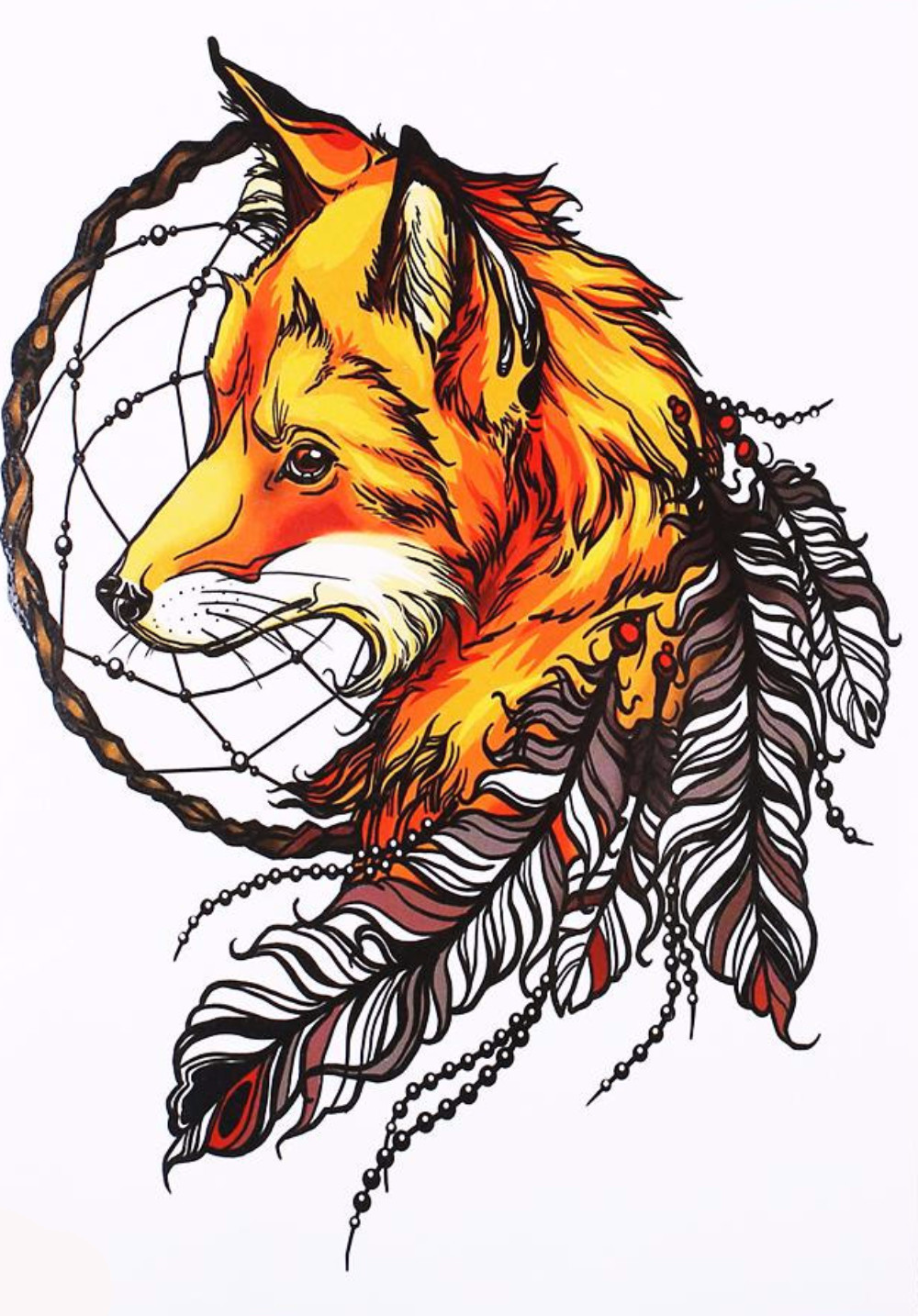 Fox temporary tattoo dreamcatcher pinterest tatouage renard and tatouages renard - Dessin renard ...