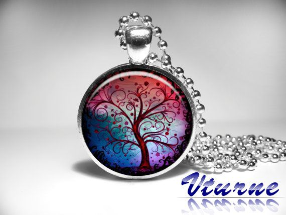 Tree Of Life Pendant, Woodland Jewelry, Tree of life Necklace, Colorful Tree Pendant, Art Jewelry, Red Blue Pendant for women