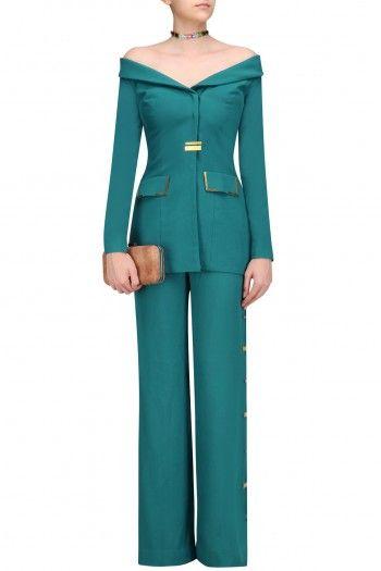 3b387ec0f206 Nikhil Thampi Teal Green Metal Chips Detail off Shoulder Blazer and Pants  Set  happyshopping  shopnow  ppus