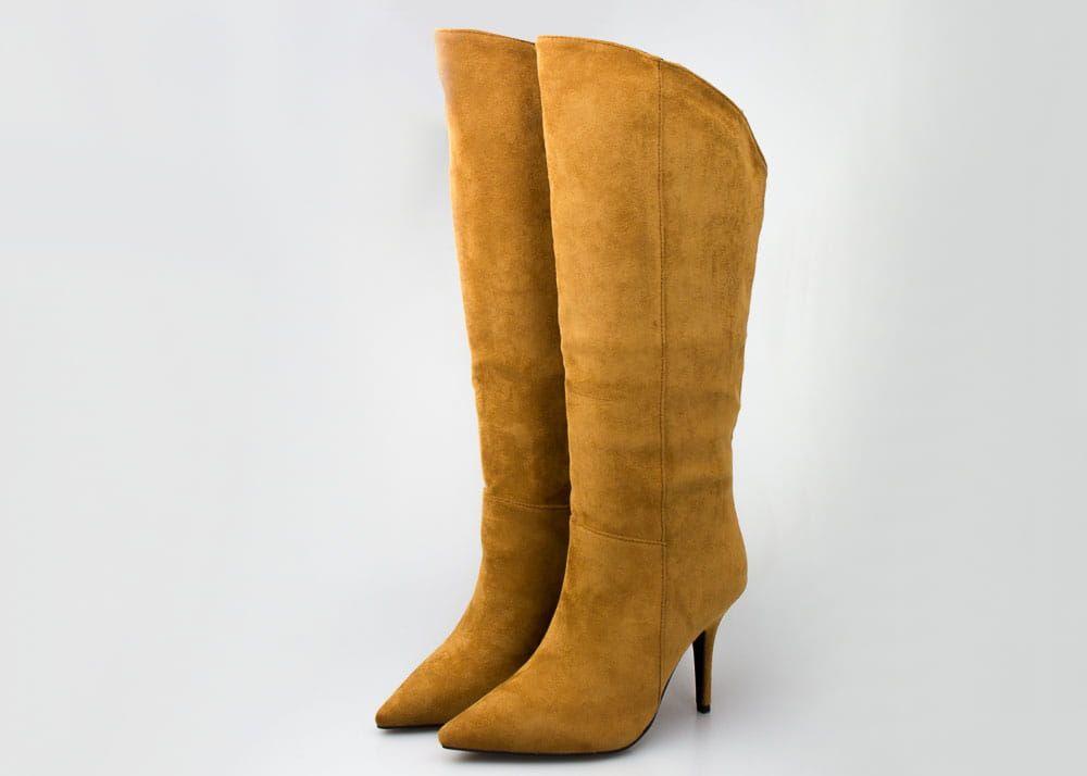 Zamszowe Kamelowe Kozaki Na Szpilce Boots Heels Stiletto
