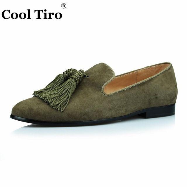 82e3645e2c1 Cool Tiro Gold Suede Loafers Men Slip Slippers Silk Tassel Moccasins Man  Casual Flats Men s Dress italian Leather Shoes Luxury
