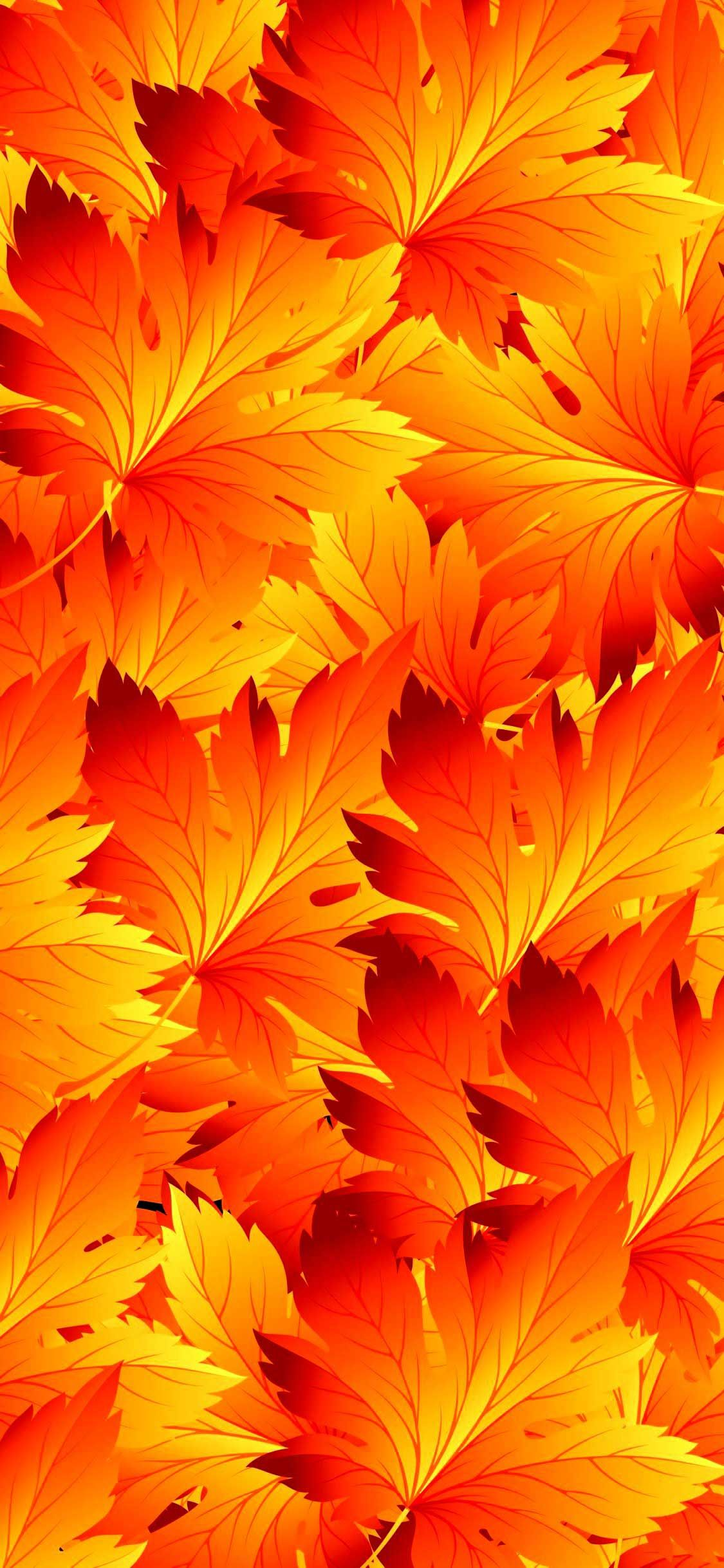 Iphone X Wallpaper Leaves patterns autumn Hd in 2020