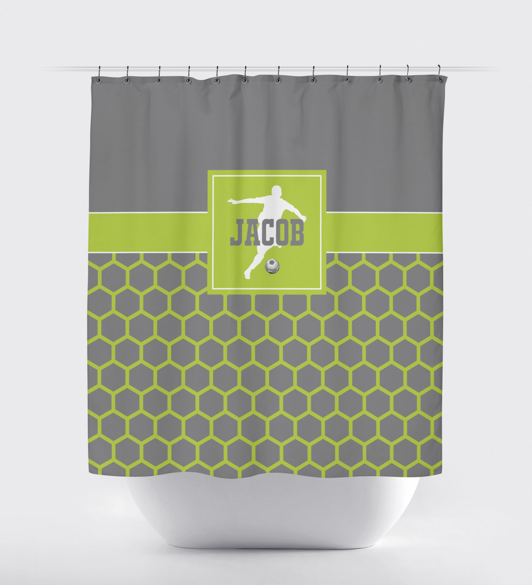 Custom Hexagon Soccer Shower Curtain Titanium Bright Chartreuse